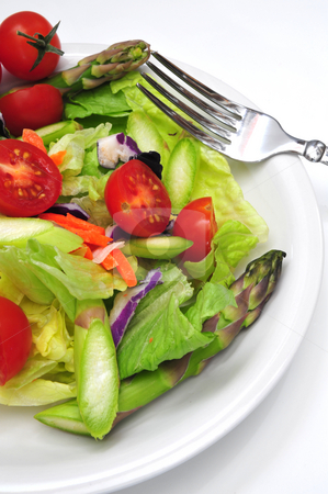 Fresh Dinner Salad stock photo, Dinner salad with assorted vegetable on a light background by Lynn Bendickson