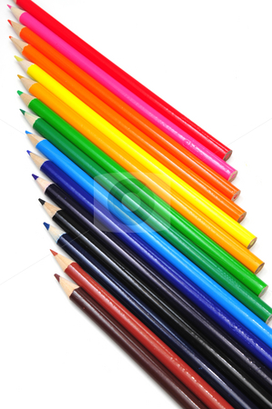 Verticle Colored Pencil Abstract stock photo, Colored pencils in various color shades in a verticle view by Lynn Bendickson
