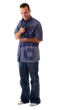 Man Examining His Hand stock photo, A full body view of a man examining his hand with a magnifying glass, isolated against a white background by Richard Nelson
