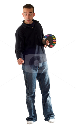 Man Painting stock photo, A man painting with water colors, isolated against a white background by Richard Nelson