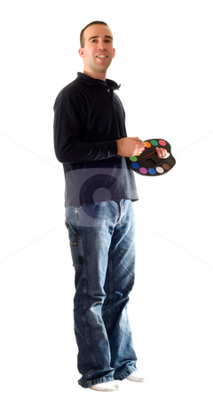 Happy Painter stock photo, A full body view of a man smiling and holding a paint palette by Richard Nelson