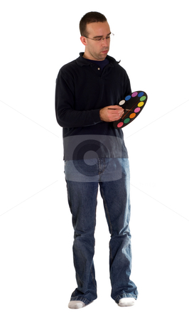 Casual Man Painting stock photo, A you man wearing casual clothes, painting with water colors by Richard Nelson