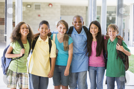 Elementary school class outside stock photo, Elementary school class standing outside by Monkey Business Images