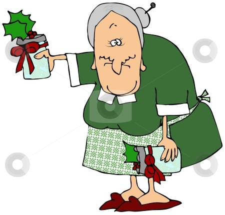 Prize Winning Jam stock photo, This illustration depicts an old woman holding bottles of holiday jam. by Dennis Cox