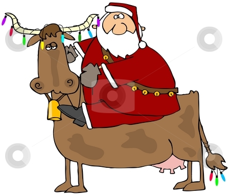 Santa And His Christmas Cow stock photo, This illustration depicts Santa riding a cow with Christmas lights on its horns and tail. by Dennis Cox