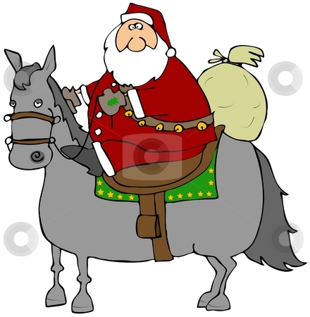 Santa Riding A Horse stock photo, This illustration depicts Santa riding a horse with his gift bag on the back. by Dennis Cox
