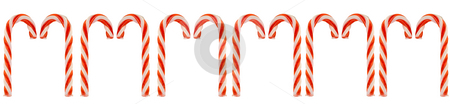 Row Of Candy Canes stock photo, A row of candy canes isolated against a white background by Richard Nelson