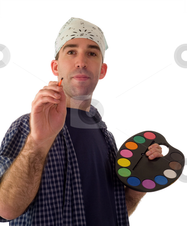 Male Painter stock photo, A male painter holding a paint palette and looking at the camera by Richard Nelson