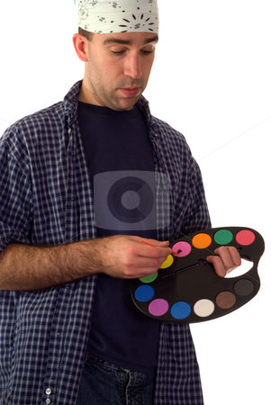 Young Painter stock photo, A young painter holding a palette, isolated against a white background by Richard Nelson