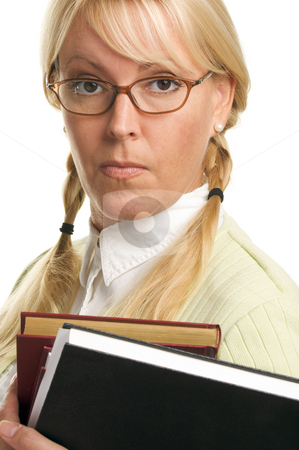 Attractive Student Carrying Her Books stock photo, Serious Attractive Student Carrying Her Books Isolated on a White Background. by Andy Dean