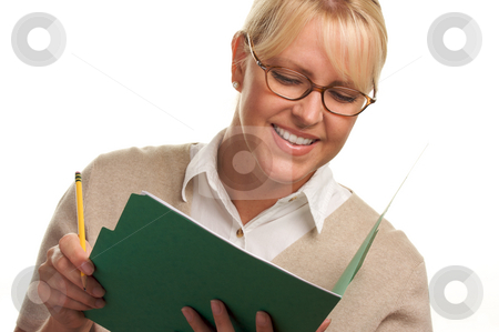 Beautiful Woman with Pencil and Folder  stock photo, Beautiful Woman with Pencil and Folder taking notes. by Andy Dean