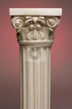 Ancient Column Pillar Replica stock photo, Ancient Column Pillar Replica on a Red Gradation Background. by Andy Dean