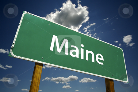 Maine Road Sign stock photo, Maine Road Sign with dramatic clouds and sky. by Andy Dean
