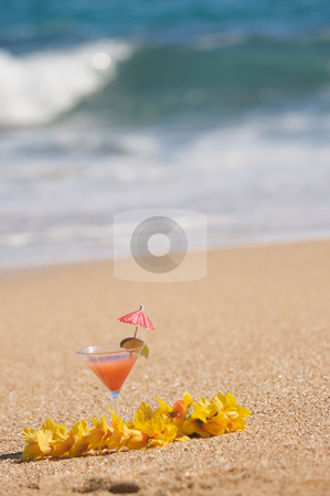 Tropical Drink on Beach Shoreline stock photo, Tropical Drink on Sandy Beach Shoreline by Andy Dean
