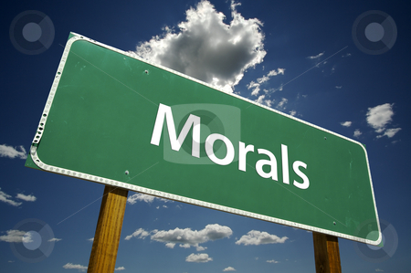 Morals Road Sign stock photo, Morals Road Sign with Dramatic Clouds and Sky. by Andy Dean