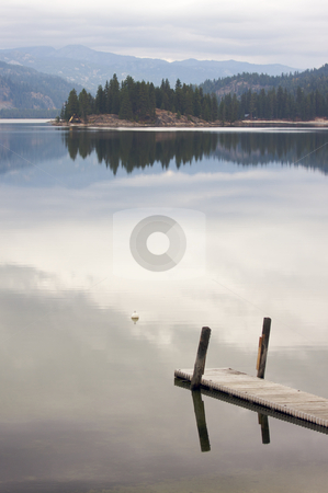 Tranquil Morning Lake Scene stock photo, Tranquil Morning Lake Scene with Beautiful Reflection by Andy Dean