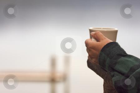 Morning Coffee on the Lake stock photo, Woman Enjoys Morning Cup Coffee on the Lake. by Andy Dean
