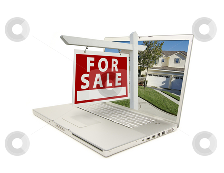 Red For Sale Sign on Laptop stock photo, For Sale Sign & New Home on Laptop isolated on a white Background. by Andy Dean