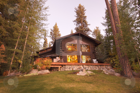 Beautiful Log Cabin Exterior stock photo, Beautiful Log Cabin Exterior Among Pine Trees by Andy Dean