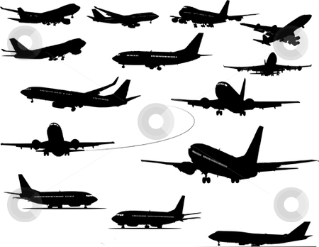 Airplane silhouettes stock vector clipart, Airplane silhouettes vector illustration by Leonid Dorfman
