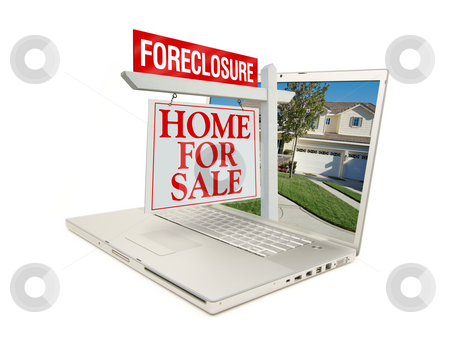 Foreclosure Home for Sale Sign & Laptop stock photo, Foreclosure Home for Sale Sign & New Home on Laptop isolated on a white Background. by Andy Dean