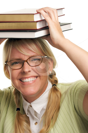 Attractive Woman with Her Books stock photo, Attractive Woman with Her Books Isolated on a White Background. by Andy Dean