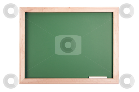 Blank Chalkboard stock photo, Blank Green Chalkboard Isolated on a White Background by Andy Dean