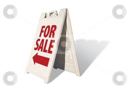For Sale Tent Sign stock photo, For Sale Tent Sign Isolated on a White Background. by Andy Dean