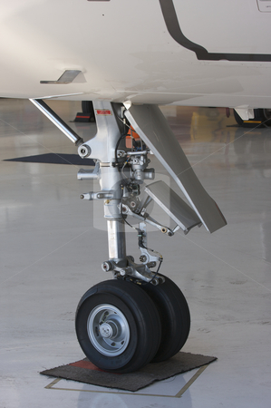 Detail of Jet Landing Gear stock photo, Detail of Private Jet Landing Gear by Andy Dean