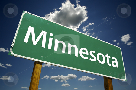 Minnesota Road Sign stock photo, Minnesota Road Sign with dramatic clouds and sky. by Andy Dean