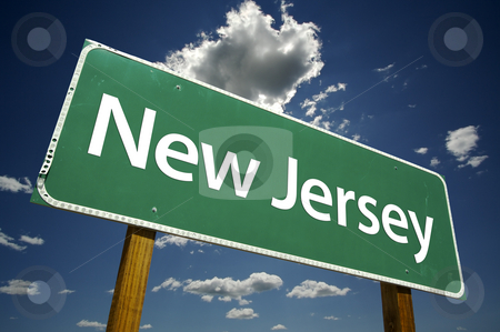 New Jersey Road Sign stock photo, New Jersey Road Sign with dramatic clouds and sky. by Andy Dean