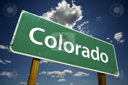 Colorado Road Sign stock photo, Colorado Road Sign with dramatic clouds and sky. by Andy Dean