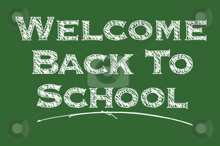 Welcome Back To School Chalk Board stock photo, Welcome Back To School Illustrated on a Chalk Board. by Andy Dean