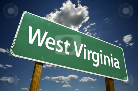 West Virginia Road Sign stock photo, West Virginia Road Sign with dramatic clouds and sky. by Andy Dean