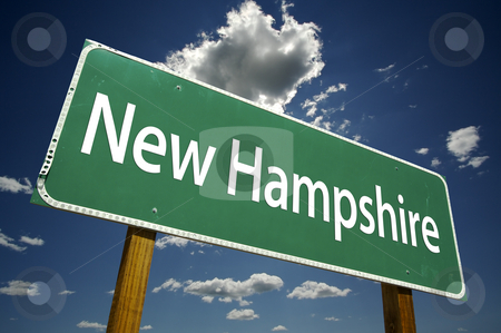 New Hampshire Road Sign stock photo, New Hampshire Road Sign with dramatic clouds and sky. by Andy Dean