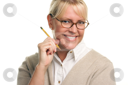 Beautiful Woman with Pencil  stock photo, Beautiful Woman with Pencil Isolated on a White Background. by Andy Dean