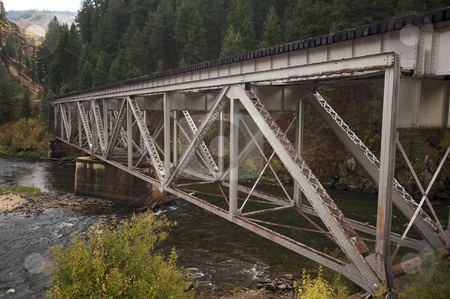Iron Train Bridge stock photo, Iron Train Bridge Over Mountain River by Andy Dean