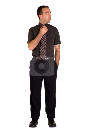 Full Body Man stock photo, View of a full body man looking to our right, isolated against a white background by Richard Nelson