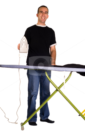Man Ironing stock photo, Full body view of a man ironing his pants, isolated against a white background by Richard Nelson