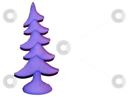 Purple Christmas  Tree isolated on white stock photo, Purple christmas tree isolated on white lots of ad space by CHERYL LAFOND