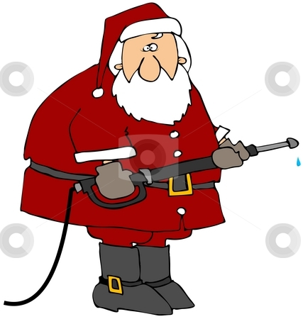 Santa with a pressure washer stock photo, This illustration depicts Santa using a pressure washer. by Dennis Cox