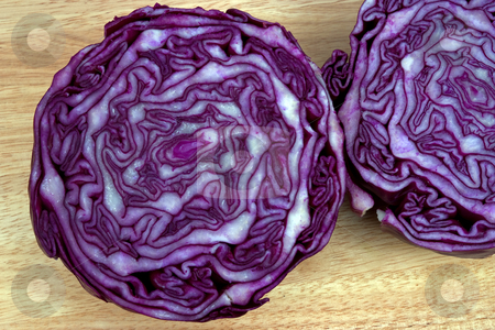 Red cabbage stock photo, Red cabbage cut in half showing the growth pattern by Paul Phillips