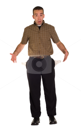 Full Body Broke Man stock photo, Full body view of a man with no money by Richard Nelson