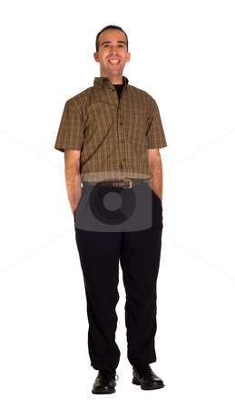 Happy Man stock photo, Full body view of a happy businessman, isolated against a white background by Richard Nelson
