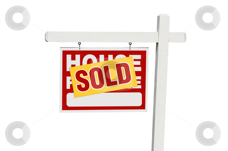 Isolated Sold Home For Sale Sign stock photo, Sold Home For Sale Sign Isolated on a White Background. by Andy Dean