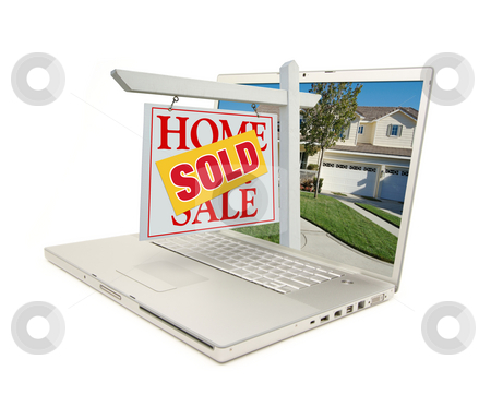 Sold Home for Sale Sign & New House on Laptop stock photo, Red Sold Home For Sale Sign on Laptop Isolated on a White Background. by Andy Dean