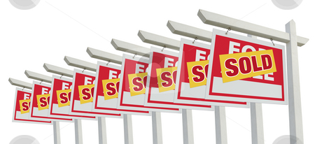 Row of Sold Home For Sale Real Estate Sign Isolated stock photo, Row of Sold Home For Sale Real Estate Sign Isolated on a White Background. by Andy Dean