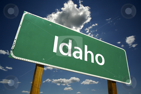 Idaho Road Sign stock photo, Idaho Road Sign with dramatic clouds and sky. by Andy Dean