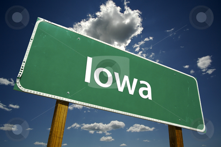 Iowa Road Sign stock photo, Iowa Road Sign with dramatic clouds and sky. by Andy Dean