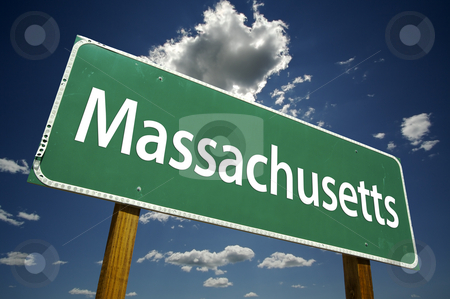 Massachusetts Road Sign stock photo, Massachusetts Road Sign with dramatic clouds and sky. by Andy Dean